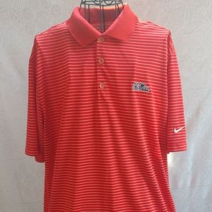 Ole Miss Nike Golf Red and White Stripe Polo Shirt